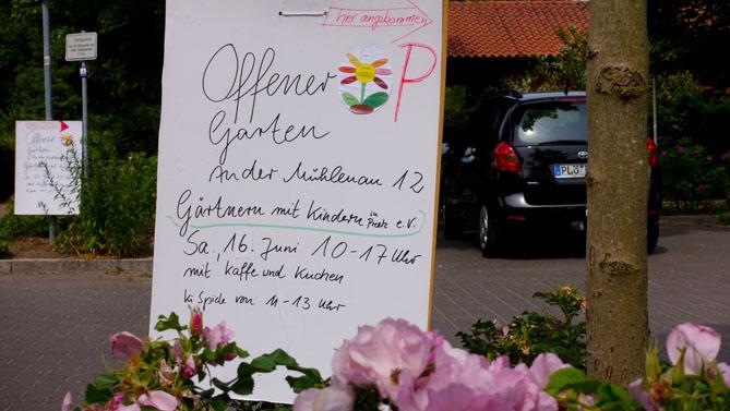 Offener Garten, Schild,
