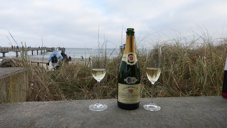 Champagner am Strand
